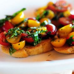 Bruschetta Recipe Lunch and Snacks, Appetizers with olive oil, garlic, grape tomatoes, grape tomatoes, balsamic vinegar, basil leaves, pepper, salt, baguette, butter