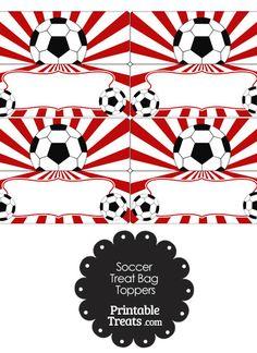 Red Sunburst Soccer Treat Bag Toppers from PrintableTreats.com