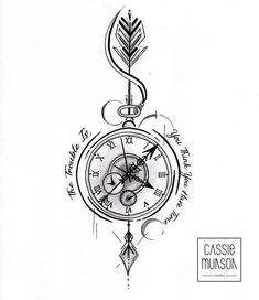 Pocket Watch Tattoo Commission by cassiemunson-art on Devian.- Pocket Watch Tattoo Commission by cassiemunson-art on DeviantArt Pocket Watch Tattoo Commission by cassiemunson-art on DeviantArt - Pocket Watch Tattoo Design, Pocket Watch Tattoos, Clock Tattoo Design, Compass Tattoo Design, Pocket Watch Drawing, Compass Drawing, Pocket Watch Art, Mens Compass Tattoo, Compass Thigh Tattoo