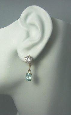 Earring JACKETS for Studs 14k Gold Blue Topaz Oval by earcuffs, $159.00
