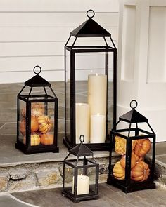 Lantern, Bronze Finish, Small Fall Decor - Front Porch Lanterns Filled with Mini Pumpkins and Gourds.Fall Decor - Front Porch Lanterns Filled with Mini Pumpkins and Gourds.