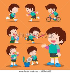 Vector set of Cute boy many actions