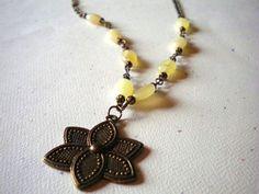 Antiqued Bronze and Lemon Jade Flower Focal by McHughCreations, $22.00