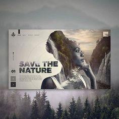Projeto Save the Nature Interface Web Design Websites, Site Web Design, Website Design Layout, Web Layout, Layout Design, Ux Design, Minimal Web Design, Modern Web Design, Website Designs