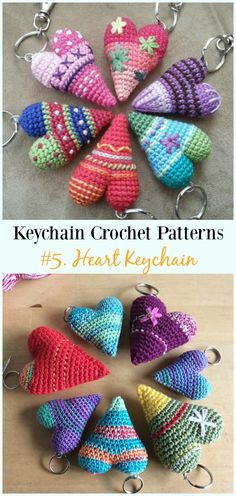 Crochet For Beginners Crochet Heart Keychain Free Pattern - Marque-pages Au Crochet, Crochet Mignon, Crochet Amigurumi, Crochet Gifts, Cute Crochet, Crochet Dolls, Crochet Stitches, Crochet Hearts, Crocheted Toys
