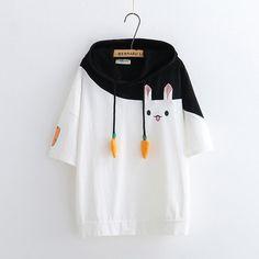 White/Black/Pink Kawaii Bunny Hoodie T-Shirt KW1812629
