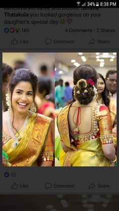 Bridal Hair Buns, Bridal Hairdo, Wedding Saree Blouse Designs, Saree Hairstyles, Blouse Patterns, Elegant Outfit, Indian Designer Wear, Blouse Styles, Indian Bridal