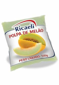 A Polpa de Fruta Ricaeli sabor Melão é um produto 100% Natural, é Distribuída pela Fruit Mix nas embalagens de 100g e 1Kg (10 unidades de 100g)