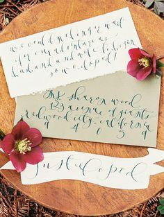 Elegant Calligraphy Wedding Invitation with Rich Purple Hellebores | Perry Vaile Photography | http://heyweddinglady.com/fine-art-adventure-loving-redwood-elopement/