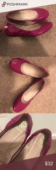 Vince Camuto ELLEN Ballet Flats 8.5 Fuchsia genuine leather ballet flats by Vince Camuto. Leather insole.Style: ELLEN. Super comfy. Marked size 38.5/8.5. Worn a handful of times. Very good shape, clean!! Vince Camuto Shoes Flats & Loafers
