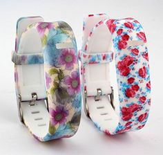 HoneyLife Fitbit Flex Cute Silicone Replacement Wristband Bracelet Wireless Activity and Sleep Tracker Accessory Band with Safety Watch Buckle  Fastener Ring Floral Pattern 7  Pack of 2 ** You can find more details by visiting the image link.
