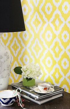 yellow ikat-inspired wallpaper
