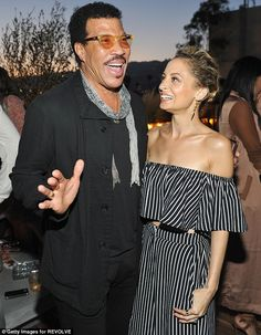 Famous father: Lionel Richie supported his daughter at the Los Angeles party...