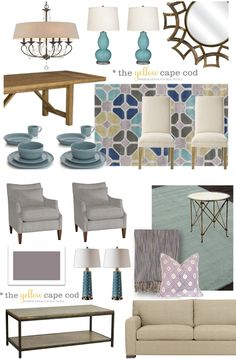 Purple Gray and Aqua, Together In One Two Room Design