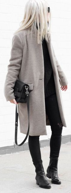 Winter Outfit: Figtny is wearing a grey coat from Oak + Fort, distressed jeans from Zara, leather boots from Alexander Wang and the bag is from Proenza Schouler... | Style Inspiration