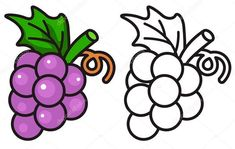 Grapes Coloring Book Grapes Clipart Coloring Book Pencil And In Color Grapes Clipart, Grapes Coloring Page Twisty Noodle, Fancy Grapes Coloring Page 71 For Your Coloring Print With Grapes, Easy Coloring Pages, Coloring Sheets, Coloring Books, Grape Drawing, Pencil Drawings Of Flowers, Math Games For Kids, Fruit Party, Clipart Black And White, Friend Tattoos
