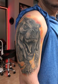 T-Rex healed - By Mani - Done with T Rex Tattoo, Dinosaur Tattoos, Color Tattoo, Portrait, Dinosaurs, Headshot Photography, Portrait Paintings, Drawings, Portraits