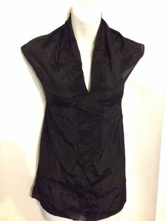 CAbi Size M Sheer Silk Blend Business Blouse Black Fall 2014 Style #979 NWT $89 #CAbi #Blouse #Career #CAbiFall2014 #CAbiStyle#979 #WomenFashion