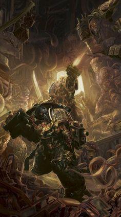 The Deathwatch aboard a Chaos infested Space Hulk (ship) Warhammer Fantasy, Warhammer 40k Rpg, Eternal Crusade, Deathwatch, Tyranids, Space Wolves, Geek Art, Space Marine, Sci Fi Art