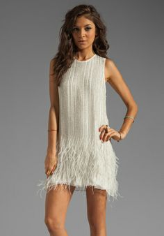 PARKER Allegra Feather Beaded Dress in Linen at Revolve Clothing - Free Shipping! $396