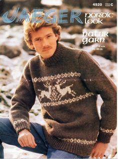 21ccddf7edbe9 vintage mens stag motif sweater knitting pattern pdf mens fair isle jumper  36-44