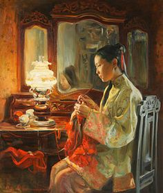 Knitting Painting - Quiet Evening by Victoria Kharchenko