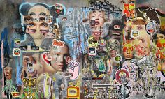 """IP ( .zip )S X Inst"" by Asha Zero, a Cape Town artist whose meticulously painted acrylics mimic torn-paper collages."
