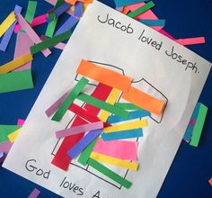 Josephs& Coat of Many Colors. Great lesson to keep little hands busy on Sunday (or any day! Preschool Bible Lessons, Bible Lessons For Kids, Bible Activities, Preschool Crafts, Preschool Ideas, Bible Story Crafts, Bible School Crafts, Sunday School Crafts, Bible Stories