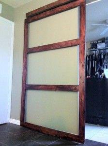 "DIY modern sliding ""barn door"" including instructions on how to make the door it's self."