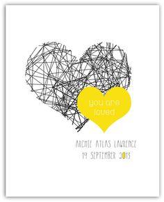 Modern geometric heart personalised date of birth print - hardtofind.