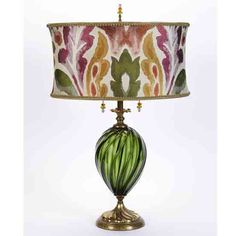 Kinzig Olive table lamp 127Af115 has an oval green, fuschia, and copper shade, on a green, hand blown glass base. Engraved signature on bottom. Glass bead pulls and finial. Handmade in the USA. http://www.sweetheartgallery.com/collections/kinzig-design-table-lamps-artistic-artisan-designer-table-lamps