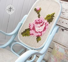 An outdated vintage Bentwood rocker gets an embroidered makeover to a shabby chic rocking chair. Make this fun project your own and DIY embroider it! Cross Stitching, Cross Stitch Embroidery, Cross Stitch Patterns, Cross Stitch Rose, Embroidery Thread, Shabby Chic Rocking Chair, Bentwood Rocker, Shabby Chic Furniture, Painted Furniture
