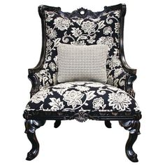 I pinned this Somerset Oversized Arm Chair from the Zoe Saldana: Curate for a Cause event at Joss and Main! Accent Furniture, Cool Furniture, Painting Furniture, Floral Chair, Black And White Fabric, Red Walls, House Rooms, Living Rooms, Joss And Main