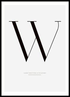 Letter W, julisteet ryhmässä Julisteet ja painokuvat / Tekstitaulut @ Desenio AB (7916)