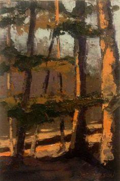 """""""Congaree Ridge"""", huile, 6 x 4 """", © Marie Bentz Gilkerson $ 235 + $ 10 expédition et de manutention"""