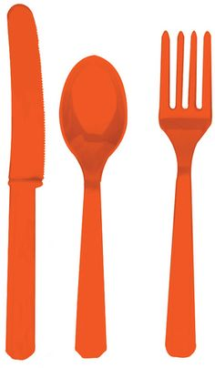 Tangerine, orange cutlery, each pack consists of 8 pieces of the following: spoons, knives and forks. They can be washed and re-used and Ideal for any occasion.  These are great for adding a splash of colour to any table.  £4.99 from the Fuschia Boutique at www.fuschiadesigns.co.uk.