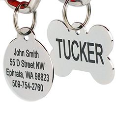 Stainless Steel Pet Id Tags Personalized Dog Tags Cat Tags Up to 8 Lines of Text Engraved Front Back Bone Round Heart Flower Shield House Star Rectangle Bow Tie ** You can find out more details at the link of the image. (This is an affiliate link) Engraved Dog Tags, Personalized Dog Tags, Cat Tags, Dog Id Tags, Pet Id, Custom Engraving, Laser Engraving, Dog Accessories, Dog Supplies