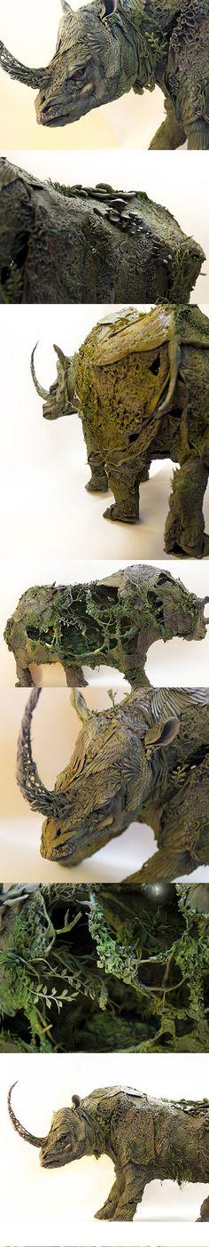 Homeostasis - rhinoceros sculpture by Ellen Jewett