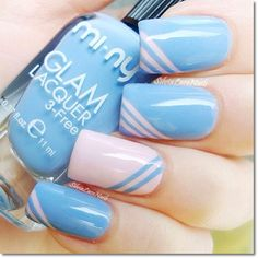 Simple nail designs for short nails 2014 blue nail art summer nai Do It Yourself Nails, How To Do Nails, Fun Nails, Sparkle Nails, Cute Easy Nail Designs, Short Nail Designs, Awesome Designs, Light Blue Nail Designs, Line Nail Designs