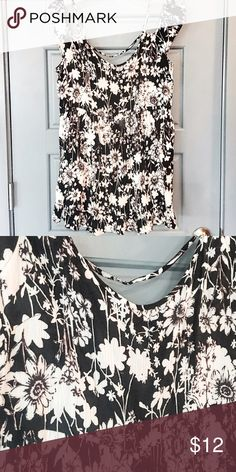 Under the shoulder Black Floral Dress. Very pretty dress. Black with white flowers. Under the shoulders. Wear it once. Is a mini dress but I like to wear it as a long blouse with leggings. Looks super cute. Forever 21 Dresses Mini