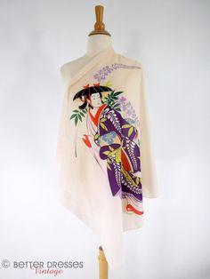 Vintage 80s Japanese Scarf Kanpai of Tokyo Souvenir by BeeDeeVintage