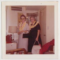 Vintage 60s Square PHOTO Pair Mature WOMEN Wearing LEIS Hawaiian Vacation great luggage ladies