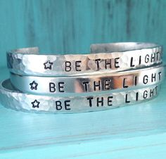 Be The Light  Motivational Cuff Hand Stamped by JewelryWithWords
