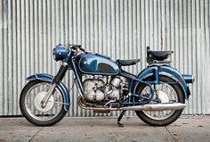 Motorcycle- Blue heaven: A 1969 BMW from US custom workshop Moto Borgotaro. Bmw Vintage, Vintage Bikes, Bmw Motorcycles, Vintage Motorcycles, R1200r, Bmw Scrambler, Bmw Boxer, Bmw Cafe Racer, Motorcycle Bike