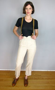 High Waisted 1970's Tan Pants with Braces