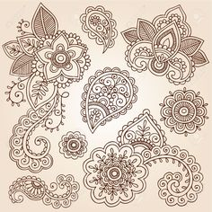 Vector Images, Illustrations and Cliparts: Henna Flowers and Paisley Mehndi Tattoo Doodles Set- Abstract Floral Vector Illustration Design Elements