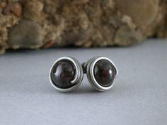 Oxidized Silver Garnet Earrings Wire Wrapped Studs by RuthAndJack