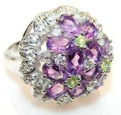 Stylish Design Amethyst Sterling Silver Cocktail ring s. 7 1/4