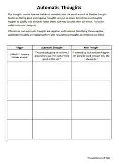 Stress management : cyberdiamonds: petitedeath: When I was in anger management they made me do a s Cbt Worksheets, Counseling Worksheets, Counseling Activities, School Counseling, Cognitive Behavioral Therapy Worksheets, Family Therapy Activities, Cognitive Therapy, Printable Worksheets, Physical Activities