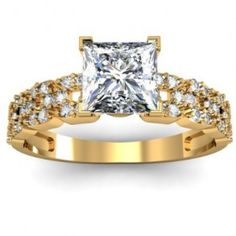 Square Cut Pave Set Diamond Engagement Ring - Unusual Engagement Rings Review